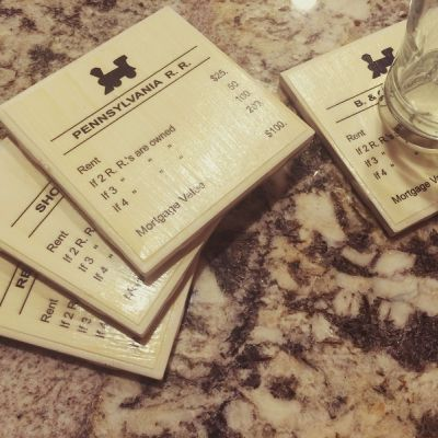 Finished Monopoly Drink Coasters Project