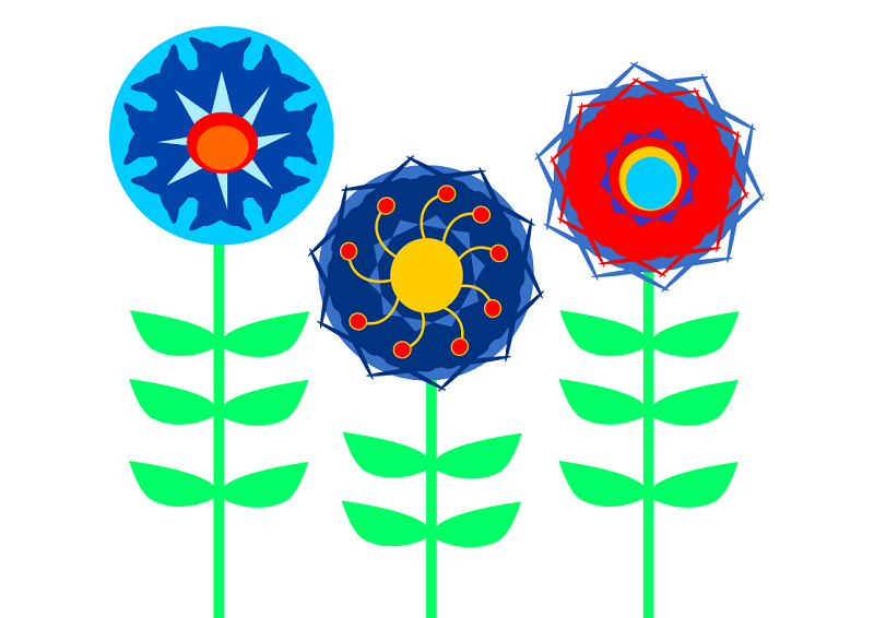 Finished Clip Art Retro Flowers Project