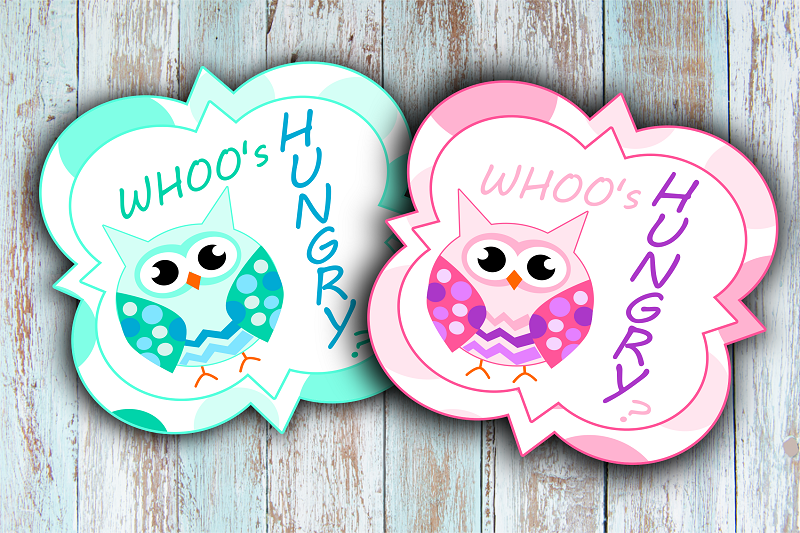 Image of Free Printable Owl Party Decor Whoos Hungry Sign in green or pink