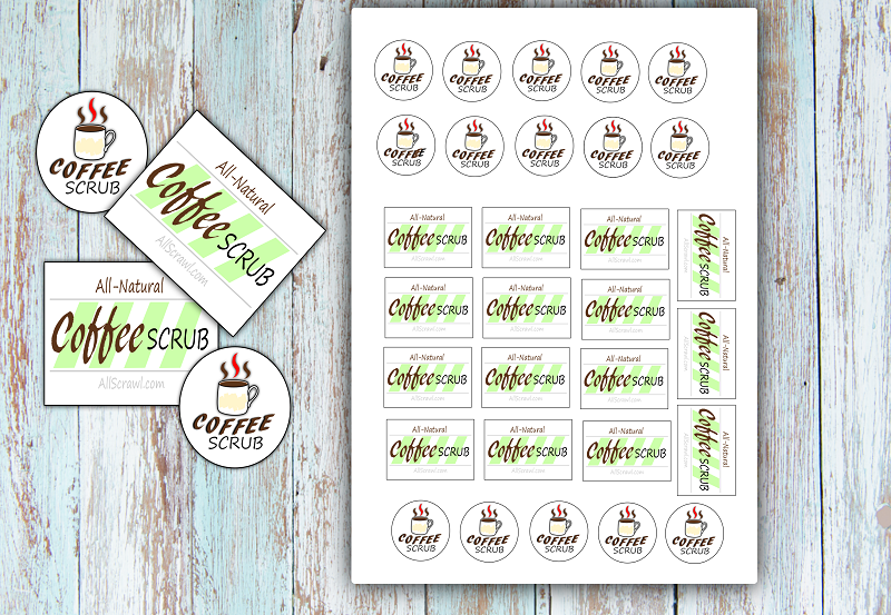Image of Printable PDF of labels for coffee sugar scrub bottles.