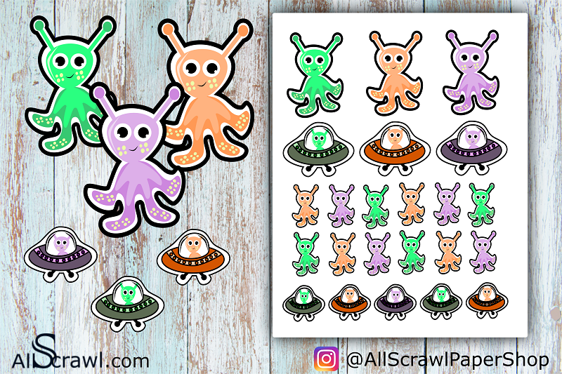 Free Printable Stickers: Out of this world aliens