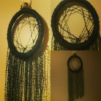 Finished Dreamcatcher: Navy and Brass Project