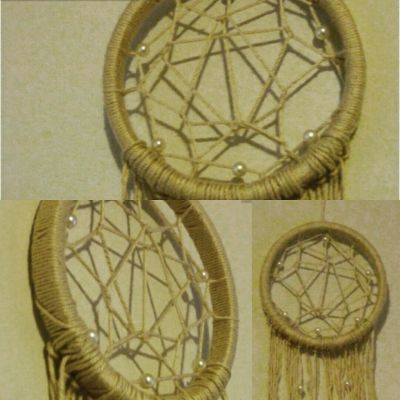 Finished Dreamcatcher with pearl beads Project